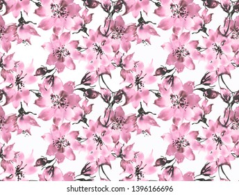 Watercolor hand painted with paints on paper seamless pattern abstract flowers. Stylish print for textile design and decoration.