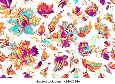 Watercolor hand painted paisley pattern. Whimsical flowers, leaves, brunches, paisley. Oriental illustration. Islam, Arabic, Indian, moroccan, spain, turkish, pakistan, chinese, mystic, ottoman motifs