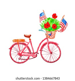 Watercolor hand painted patriotic bicycle with US flags and poppy flowers in a basket. Decorative banner with symbols of 4th of july and memorial day, isolated on white background.
