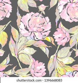 Watercolor hand painted peonies seamless pattern with leaves. Stylish print for textile design and decoration. Beautiful print from watercolor sketching hands on paper.