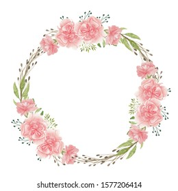 Watercolor hand painted pink carnation flower circle frame for wreath wedding greeting card decoration