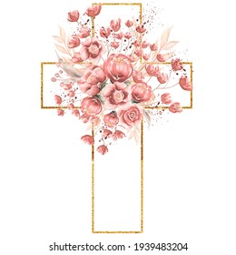 Watercolor hand painted Pink Florals Cross Clipart, Easter Religious flowers  illustration,  Baptism Cross clip art,  Holy Spirit clipart, golden frame