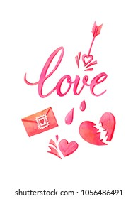 Watercolor hand painted pink love set. Can be used as romantic background for web pages, wedding invitations,  greeting cards, postcards, textile design, package design, patterns, prints.