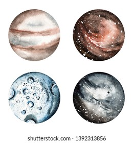 Watercolor hand painted planets. Watercolor space