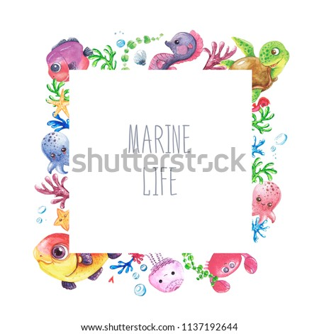 watercolor hand painted premade template card stock illustration