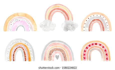 Watercolor hand painted rainbows set. Illustration isolated on white background. Design for logo, baby textile, print, nursery decor, children decoration, kids room. Positive clipart printing fabric.