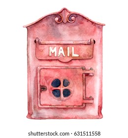 Watercolor hand painted red old mail box. Vintage metal rusty post box