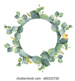 Watercolor hand painted round frame with silver dollar eucalyptus. Healing Herbs for wedding invitation, save the date or greeting design. Spring or summer flowers with space for your text.