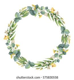 Watercolor hand painted round wreath with eucalyptus leaves. Healing Herbs for cards, wedding invitation, save the date or greeting design. Spring or summer flowers with space for your text.