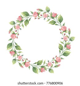Watercolor hand painted round wreath of green branches and flowers roses. Healing Herbs for cards, wedding invitation, posters, save the date or greeting design.