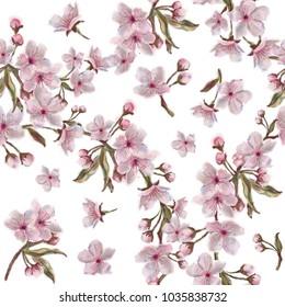 Watercolor hand painted sakura blooms and wreaths pattern
