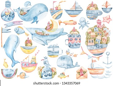 Watercolor hand painted sea life collection: dolphin, whales, fish, anchor, waves. Fantasy Illustration on white background.
