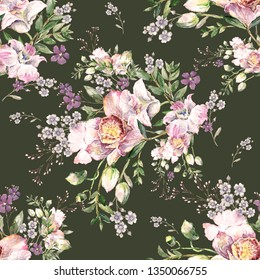 Watercolor hand painted seamless pattern with beautiful orchids and herbs. Excellent print for your design and decor. Fashionable bouquet of orchids with herbs.