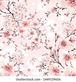 Watercolor hand painted seamless pattern with beautiful blooming branches.
