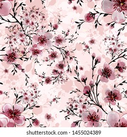 Watercolor hand painted seamless pattern with beautiful blooming branches. Excellent print for your design and decor.