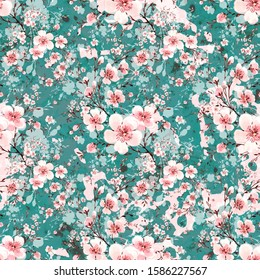 Watercolor hand painted seamless pattern with beautiful blooming branches. Stylish print for textile design and decoration.
