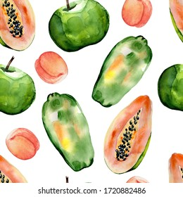 Watercolor hand painted seamless pattern with apples, peaches and papaya on white background. Colorful tropical pattern for trendy design, print or background.