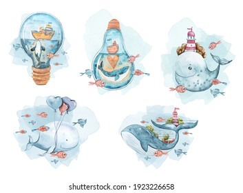 Watercolor hand painted set with cute whales, fish, lighthouse, sailboat. Nursery illustration on white background. Perfect for sublimation, print, baby shower, birthday invitations, greeting cards.