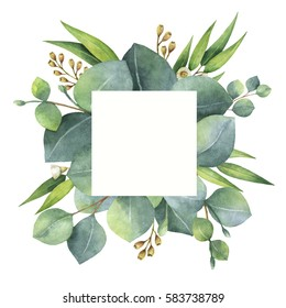 Watercolor hand painted square wreath with eucalyptus leaves and branches. Healing Herbs for cards, wedding invitation, flowers with space for your text.