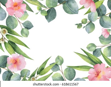 Watercolor hand painted square wreath with green eeucalyptus and pink flowers. Healing Herbs for cards, wedding invitation, greeting design. Summer flowers with space for your text.
