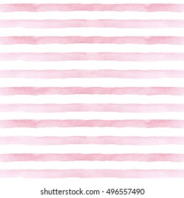 Watercolor hand painted stripy background. Seamless pattern with stripes. Watercolor pink ombre pattern