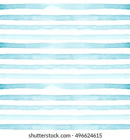 Watercolor hand painted stripy background. Seamless pattern with stripes. Watercolor blue ombre pattern