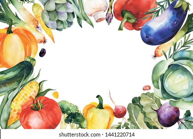 Watercolor hand painted vegetables. Frame border with cabbage,eggplant,pepper,corn,herbs,mushroom,leek,pumpkin,tomato.Vegetarian collection.Pefect for your greeting cards,menu,recipe,autumn templates.