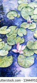 Watercolor hand painted water lilies and pads in the pond
