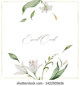 Watercolor hand painted wedding escort card template design with green leaves and flowers. Illustration for cards, save the date, greeting design, floral invite.