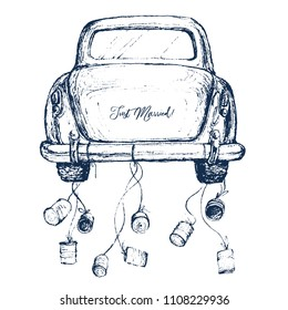 Watercolor hand painted wedding romantic illustration on white background - vintage navy color car with cans. Just Married! Perfect for logo, greeting cards, wedding invites, decoration, posters, etc.