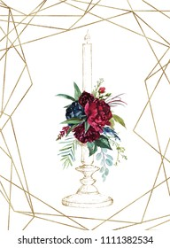 Watercolor hand painted wedding romantic illustration on white background - vintage gold candlestick & flower floral bouquet composition. Geometric frame. Pink peonies, blush anemones, maroon roses.