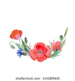 Watercolor hand painted wild flowers.  Can be used as romantic background for web pages, wedding invitations, greeting cards, postcards, textile design, packaging design, posters, prints, tatoo.