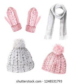 Watercolor hand painted winter cute clothes set. Knitting hat, mittens, scarf in pastel pink color. Warm feminine trendy accessory collection isolated on white