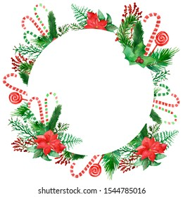 Watercolor hand painted winter holiday celebration circle frame with green christmas tree fir branches, red flower poinsettia, lollipops on the white background for new year invitations and cards