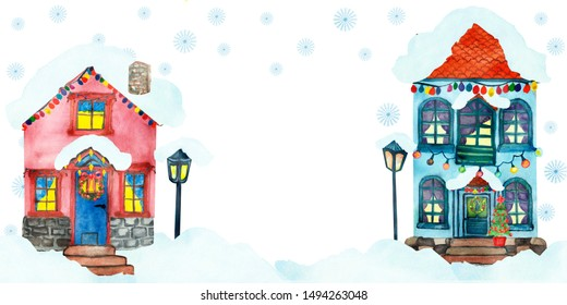 Watercolor hand painted winter town composition with two tiny two-stored pink and blue houses with snow on the roof, lamp and christmas garlands for celebration cards