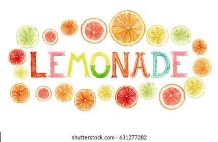 Watercolor hand painted word lemonade in frame of citrus fruits slices isolated on white. Colorful lemonade label design