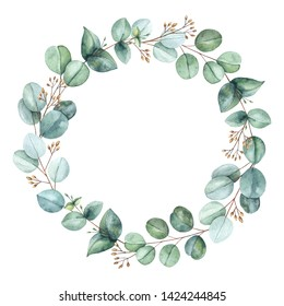 Watercolor hand painted wreath with eucalyptus leaves and branches.