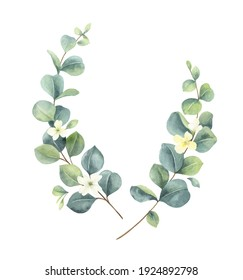 Watercolor hand painted wreath with green eucalyptus leaves and flowers. Illustration for invitation, wedding or greeting cards isolated on a white background. Greenery clip art.