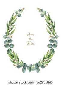 Watercolor hand painted wreath with green eucalyptus leaves and branches. Healing Herbs for cards, wedding invitation,save the date or greeting design. Spring flowers with space for your text.