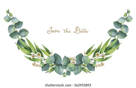 Watercolor hand painted wreath with green eucalyptus leaves and branches. Healing Herbs for cards, wedding invitation, posters, save the date. Spring or summer flowers with space for your text.