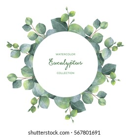 Watercolor hand painted wreath with silver dollar eucalyptus leaves and branches. Healing Herbs for wedding invitation, save the date or greeting design. Spring flowers with space for your text.