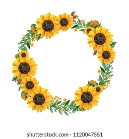 Watercolor hand painted wreath with sunflowers,leaves,branches, rosehip berries and place for your text. Perfect for wedding invintations or greeting cards,print, textile