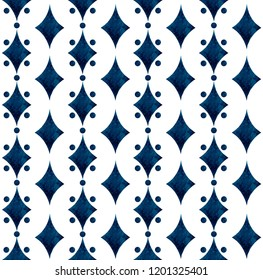 Watercolor hand painting blue with dot navy blue seamless on white background.Watercolor deep blue rhombus with white circle pattern design can use for scarf,textile,illustration artwork backdrop.