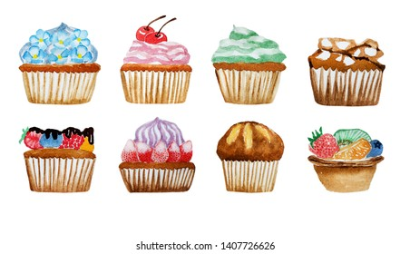 Watercolor hand painting of cupcake and tart bakery set isolated on white background