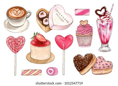 watercolor hand painting dessert and sweet drinks set. isolated elements