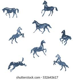 Watercolor hand painting horses pattern. Hand drawing background. Set of silhouette horses in motion rearing horse, running horse illustration.