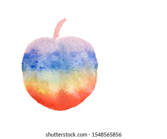 Watercolor hand painting illustration of colorful rainbow of abstract apple fruit, isolated drawing and clipping path on white background and copy space