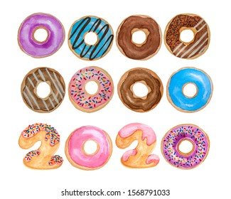 Watercolor hand painting illustration of colorful donuts and 2020 letters doughnut with colorful sugar chocolate candy topping, isolated and clipping path on white for two thousand twenty new year