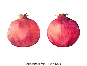 Watercolor hand painting illustration. Couple of pomegranates isolated on white background. For your design. Kitchen interior.