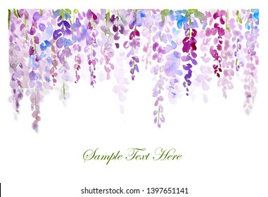 Watercolor hand painting on white paper background with the violet wisteria flowers, design for decorated the invitation or wedding card